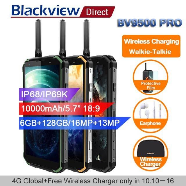 Blackview BV9500 pro 10000 mah IP68 Étanche Smartphone android 8.1 5.7 18:9 6 gb 128 gb talkie walkie visage ID 4g mobile téléphones