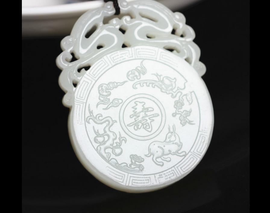 Genuine Xinjiang Hetian yu pendant pierced openwork lace life longevity wishful yu  tablets with a certificate card