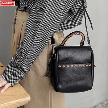 New genuine leather Women shoulder Messenger bag female fashion simple wild soft top layer cowhide leather girl small handbags