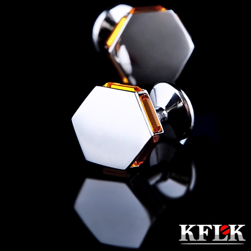 5 Colors KFLK Luxury shirt cufflinks for mens gift Brand cuff buttons  Crystal cuff link High Quality abotoaduras Jewelry