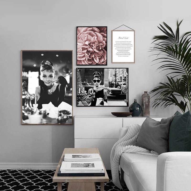 Audrey Hepburn Black White Fashion Poster Canvas Wall Art Print Flower Painting Motivational Decorative Picture Modern Decor