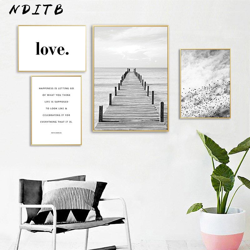 Scandinavian Black White Landscape Canvas Poster Quotes Wall Art Print Painting Nordic Decoration Picture Modern Home Decor