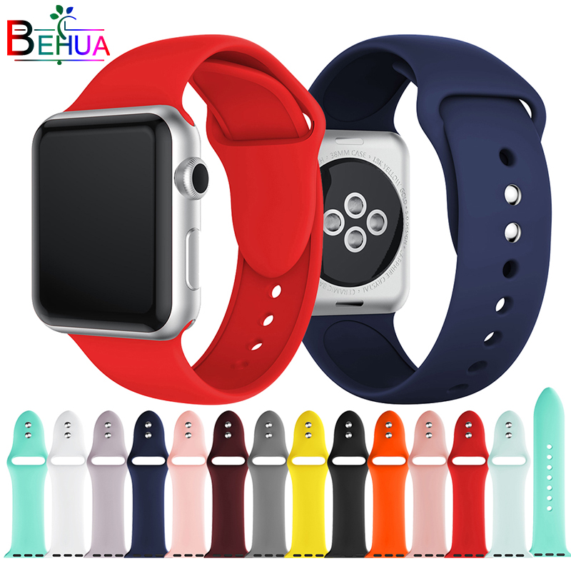 Colorful Soft Silicone Sport Band For Apple Watch 38MM 42MM 40mm 44mm Rubber Watchband Strap For IWatch Series 4 3 2 1 Wristband(China)