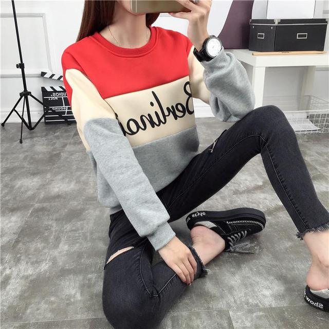 High Quality Fashion Autumn winter Korean Style Jacket Plus Velvet Sweatshirts Female Loose Solid Color Long Sleeved Printed