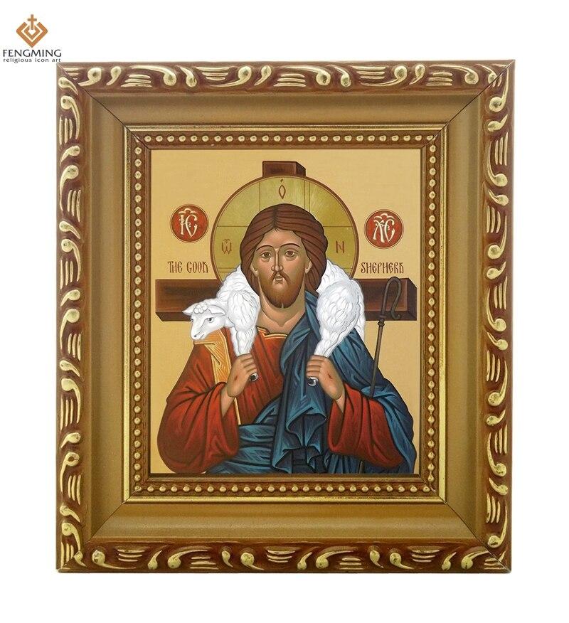 Us 129 Bilderrahmen Russische Orthodoxe Kirche Lcon Von Christus Der Gute Hirte Holz Handwerk Christian Bild Taufe Geschenke Religiöse Artikel In