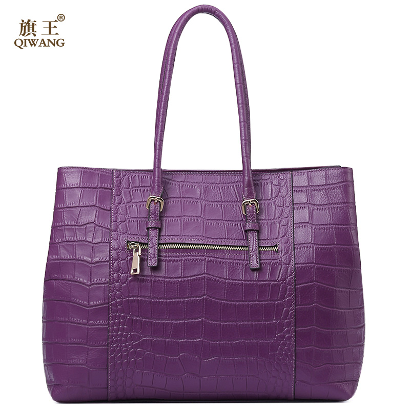 Qi Real Leather Women Purple Handbag Crocodile Bag For Long Strap Large Luxury Purse Brand Design Bags In Top Handle From Luggage