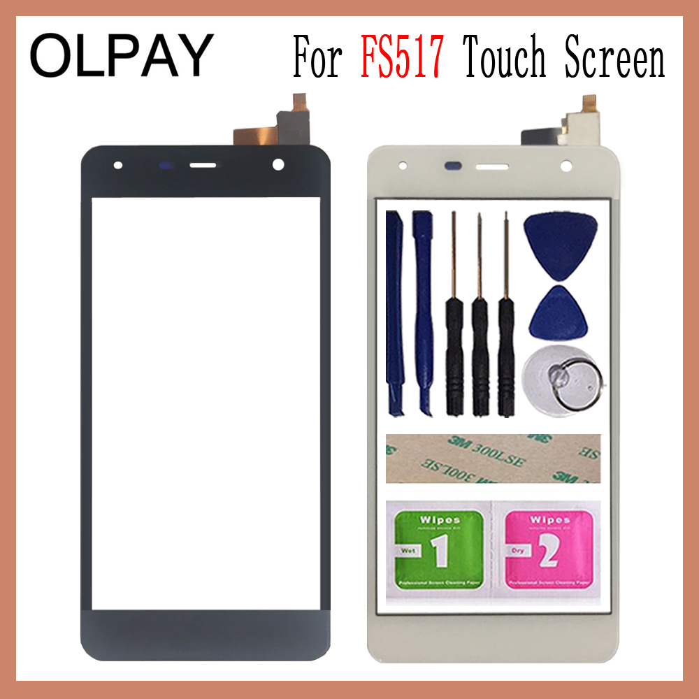 OLPAY 5.0'' Mobile Touch Glass For Fly FS517 FS 517 Touch Screen Digitizer Front Glass Lens Sensor Tools Free Adhesive And Wipes