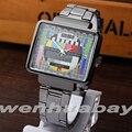 Paidu TV Design Quadrado Multicolor Quartzo Preto Pulseira de Couro Relógio de Pulso Presente do Menino Mens Dial Turntable Digital relógios de Pulso Q0817