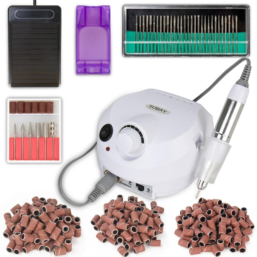 где купить White Electric Professional Nail Art Drill Machine Manicure Pedicure Pen Tool Set Kit+30pcs nail art bit+300pcs sanding bands дешево