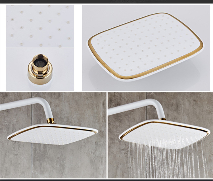 Senducs Thermostatic Shower Set White Gold Bathroom Shower System Quality Brass Bathtub Faucet Newly Intelligent Gold Senducs Thermostatic Shower Set White Gold Bathroom Shower System Quality Brass Bathtub Faucet Newly Intelligent Gold Shower Set