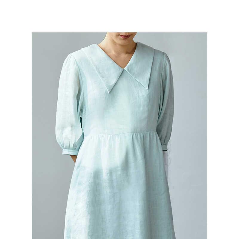 をインマン 2019 秋の新到着クリアリネンターンダウン襟レトロかわいい定義ウエストスリム A ラインの女性のロングドレス