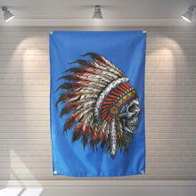 Scheletro Indians Banner Poster Bar Cafe Hotel Tema Decorazione Wall Hanging Art Impermeabile In Tessuto Poliestere Bandiere(China)
