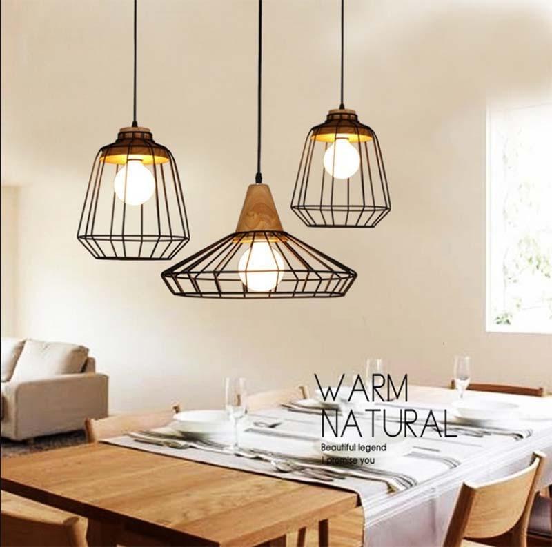 BOKT Vintage Industrial Pendant Lamps Iron Loft Decor Bird Cage Cafe Bar Bedroom Kitchen Accessory Ceiling