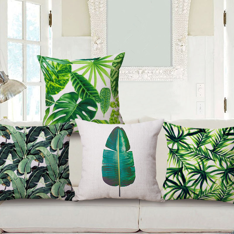 Hawaiian Garden Tropical banana Leaves Palm Leaf Print Car Decorative Pillowcase Pillow cases Cushion Covers Sofa Home Decor
