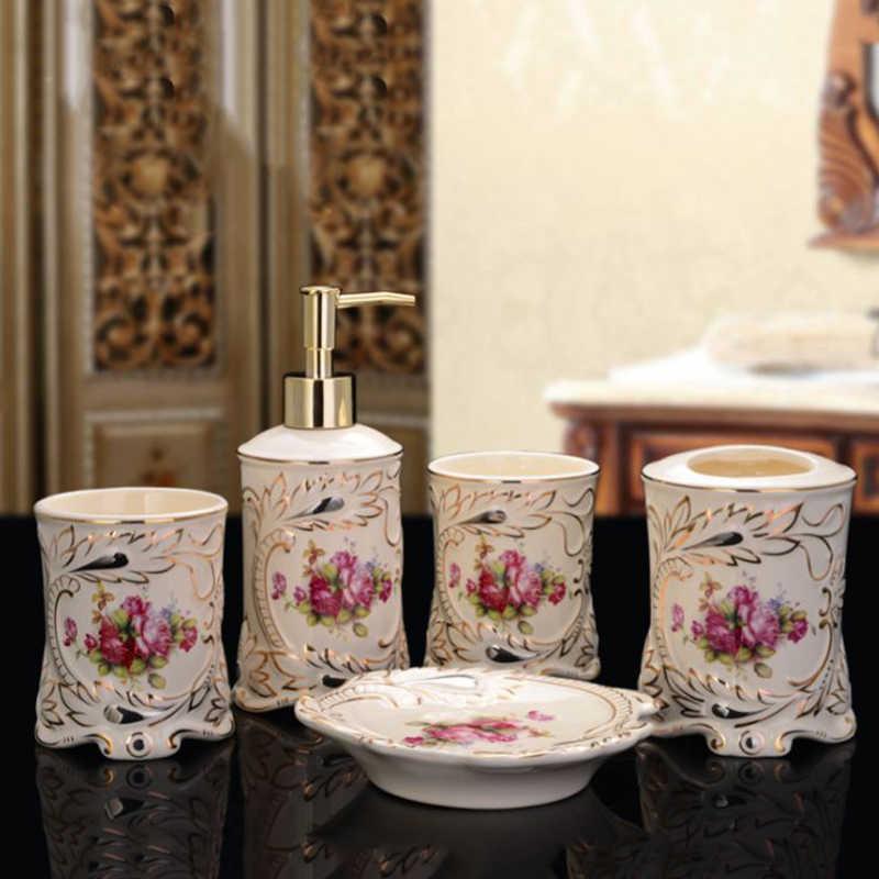 BAISPO malowane różowe złoto łazienka 4 zestawy łazienka płyn do prania butelka kubek do mycia pudełko na mydło szczoteczka do zębów uchwyt łazienka akcesoria
