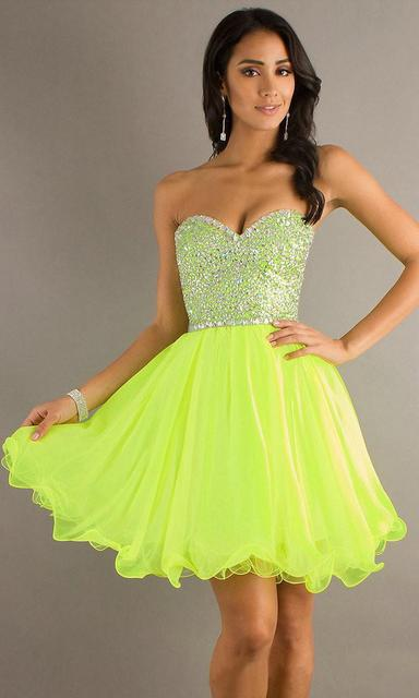 Lime Green Lilac Short Homecoming Dresses 2014 New Girl Semi Formal