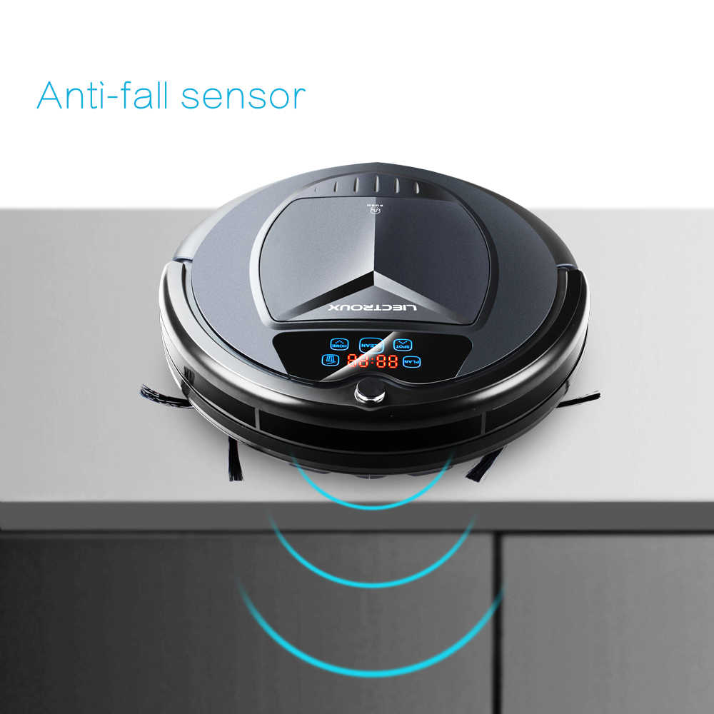 LIECTROUX B3000 Robot aspiradora Voice Prompt LED pantalla táctil Calendario de recarga automática diseñado para el suelo duro del pelo del animal doméstico