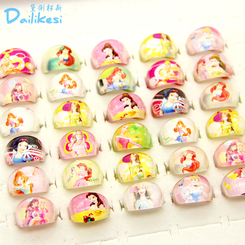 Wholesale Jewelry Lots 20pcs Free Shipping Lovely Mix Resin Cartoon Girls Sofia the First Children Rings
