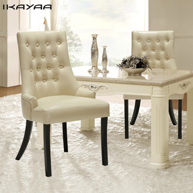 IKayaa UK Stock Dining Chair Western Style Scoop Back Tufted PU Leather Padded Accent