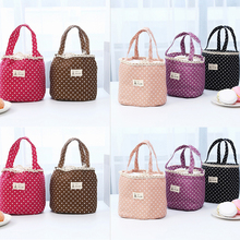 Women's cotton canvas lunch bag polka dot insulated bag polka dot tote chain bag