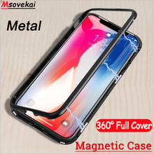 hot deal buy magnetic phone case for iphone 8 plus xs max xr 7 plus tempered glass back metal magnet flip cover for iphone 7 6 6s plus case