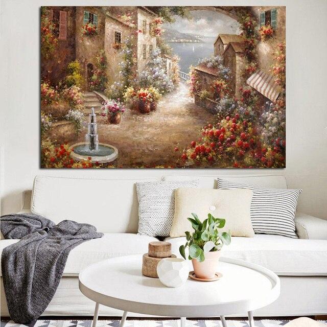 € 3.23 10% de réduction|Imprimé Abstrait Rétro Jardin Paysage Méditerranéen  Peinture À L\'huile sur Toile Moderne Canapé Affiche Art Mur Photo ...