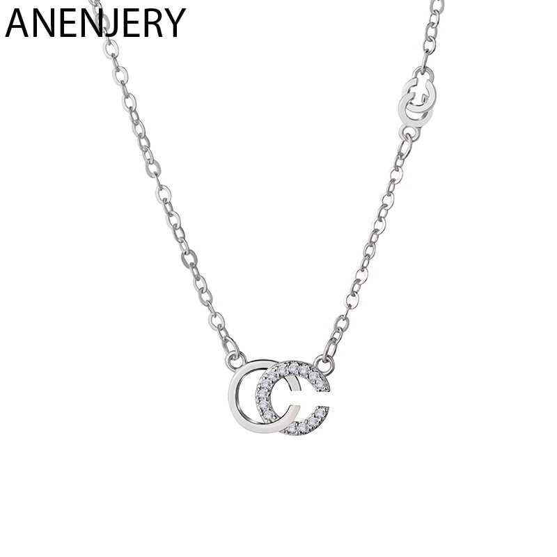 anenjery Simple Zircon CC Letters Necklace For Women 925 Sterling Silver Necklaces Chain Choker Gift S-N365