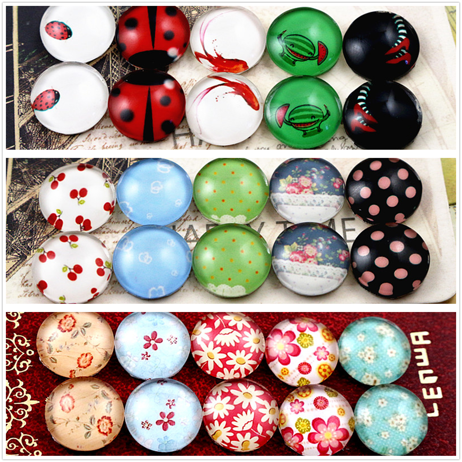 10pcs/lot (One Set) Three Style 12mm Fashion Pattern Handmade Glass Cabochons Pattern Domed Jewelry Accessories Supplies