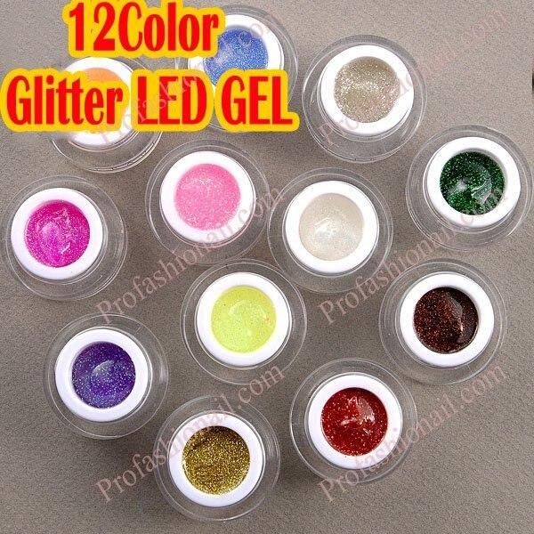 12 Colors Glitter color LED Gel NAIL ART LED SOAK OFF GEL SET - NA633