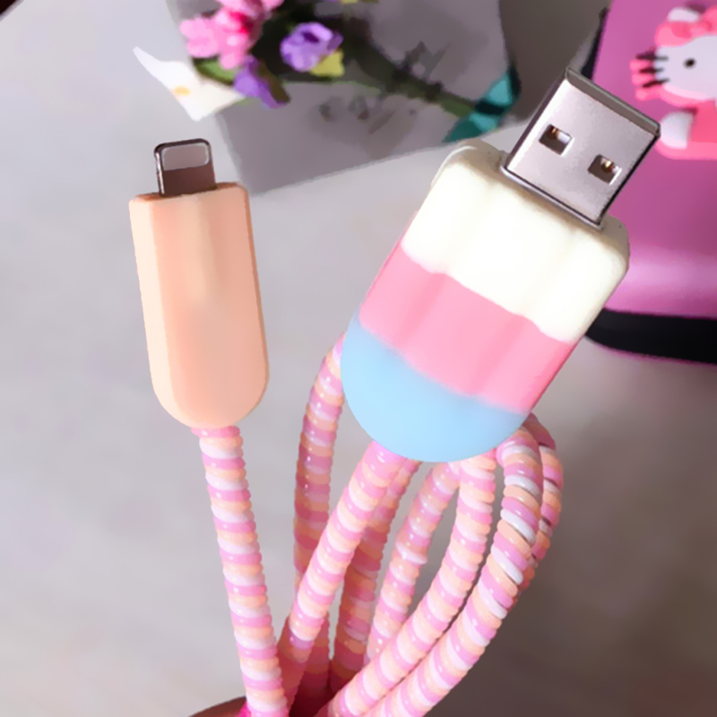 Colourful Ice cream USB cable protector data line charging cable cute protection Cover For iphone5/6/6plus X cable sleeve prescription drug