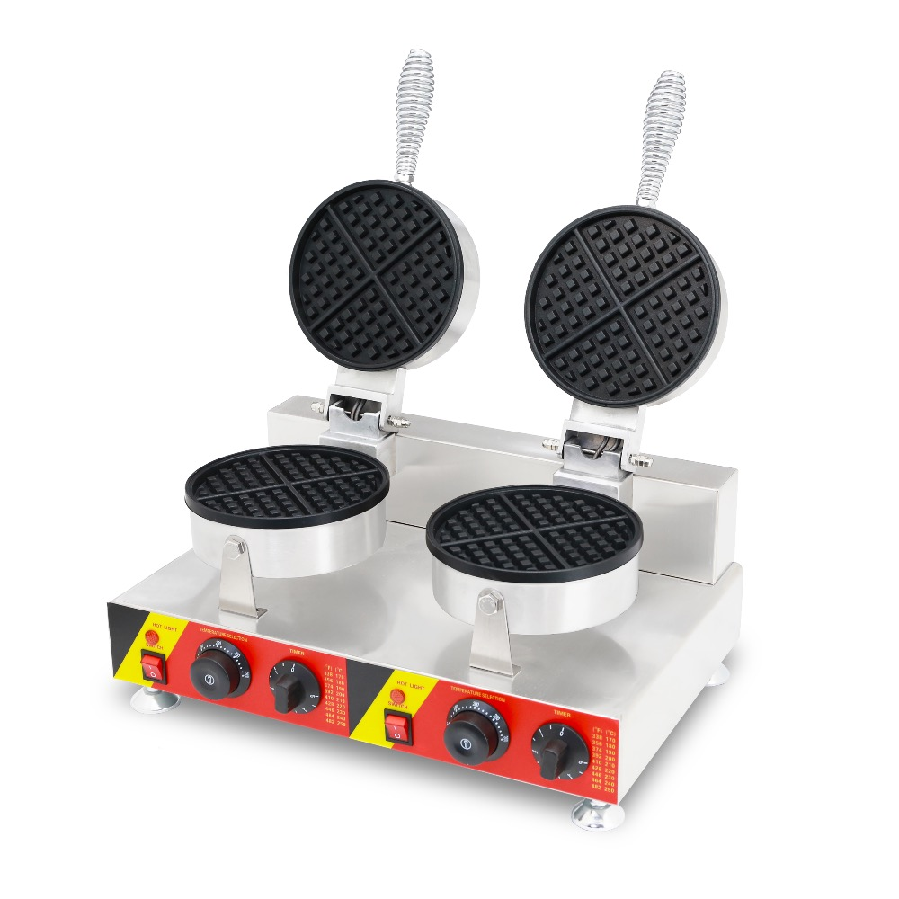 Electric Commercial Waffle Maker Stainless Steel Waffle Machine Double Heads 2000W Nonstick Cooking SurfaceElectric Commercial Waffle Maker Stainless Steel Waffle Machine Double Heads 2000W Nonstick Cooking Surface