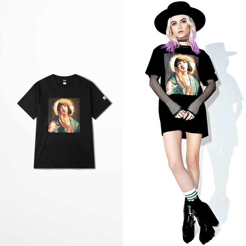 Funny Virgin Mary Mixed Pulp Fiction Tee 2017 Summer Breathable Cotton T-shirts June New Fashion Hip Hop Tee Shirt Homme Spartak