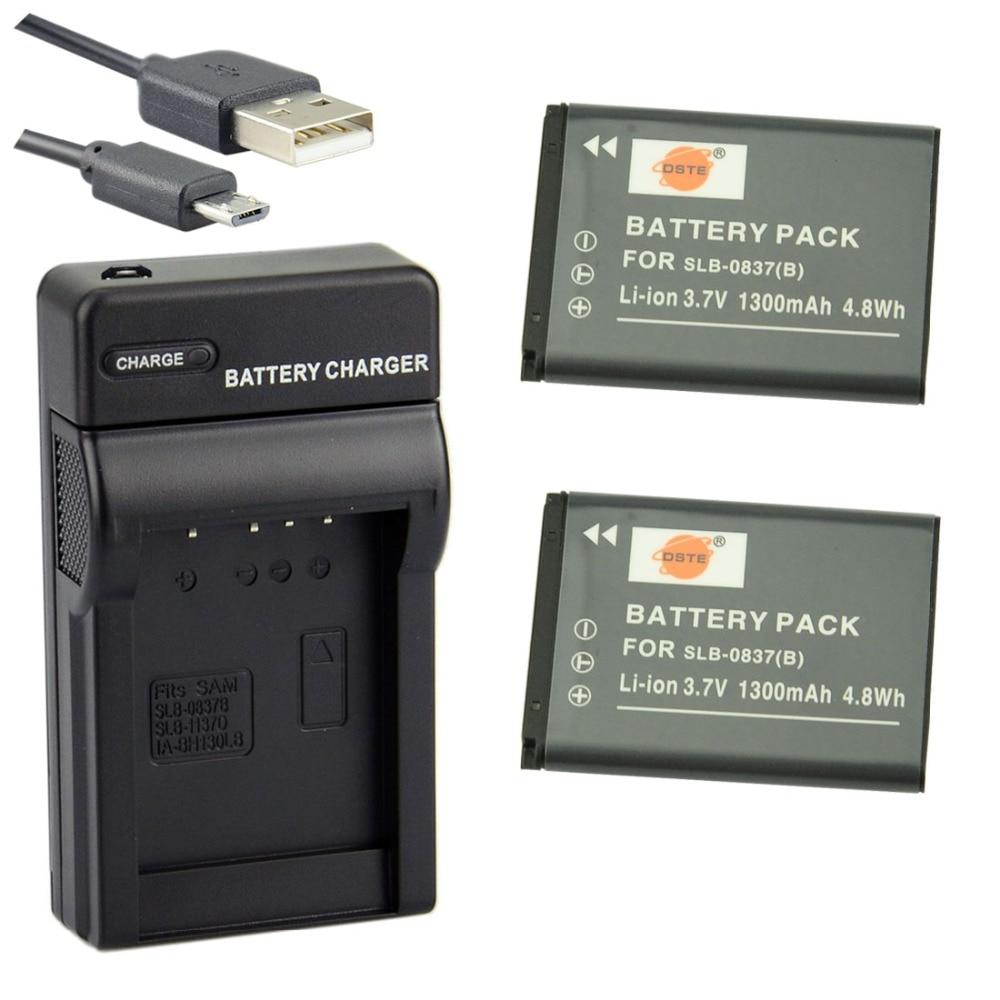 DSTE 2 piezas SLB-0837B batería de ion de litio con cargador de puerto USB para SAMSUNG NV15 NV20 L83T L201 NV8 L301 Cámara