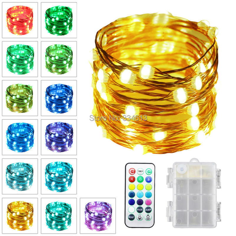 1/3/5pcs 3AA Battery Powered 5M/16FT 50LEDs Copper Wire Multi Color Changing LED String Lights, Outdoor Starry Lights + Remote