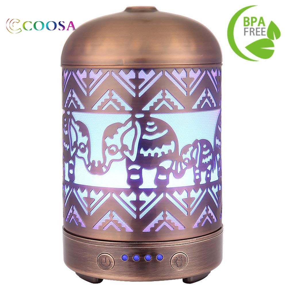 все цены на COOSA 100ML Metal Elephant Pattern 100ml Ultrasonic Aromatherapy Essential Oil Diffuser Aroma Diffuser Cool Mist Humidifier онлайн