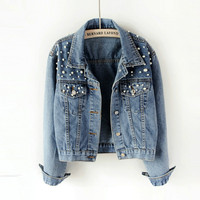 2019 Spring Pearl Beading Crop Denim Jackets For Women 5Xl Casual Jeans Bomber Jacket Long Sleeve Denim Coat Korean Plus Size