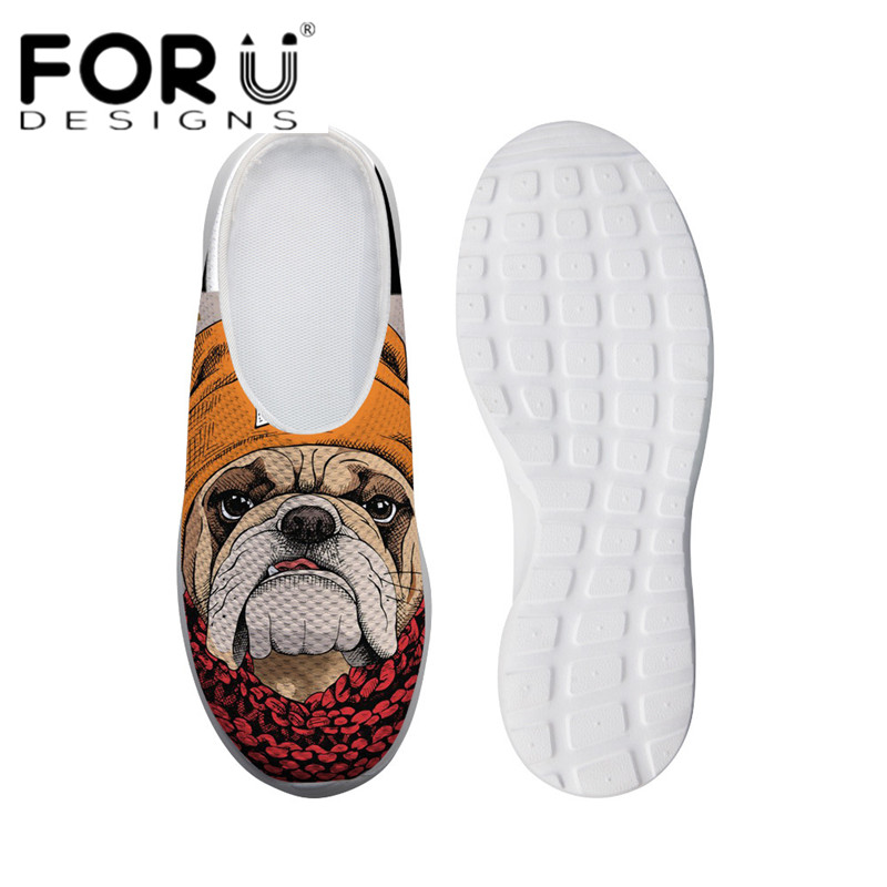 FORUDESIGNS Casual Summer Sandals for Women Cool Animal Bulldog 3D Print Light Mesh Shoes Ladies Girls Slip-on Comfortable Flats instantarts women flats emoji face smile pattern summer air mesh beach flat shoes for youth girls mujer casual light sneakers