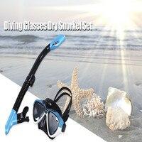 Profesyonel Yüzme Dalış Maskeleri Gözlüğü Şnorkel Solunum Tüp Seti Su Sporları Eğitim Silikon Maske Gözlük Kuru Snorkel Seti