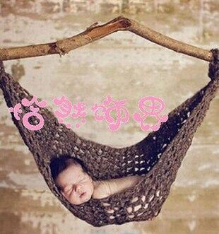 2015 Soft Hammock Cocoon Photography Photo Prop Handmade Crochet accessoire sleeping bag for Newborn Baby