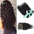 Peruvian Curly Hair With Closure Peruvian Deep Wave 3 Bundles With Lace Closure Peruvian Virgin Hair with Closure Human Hair