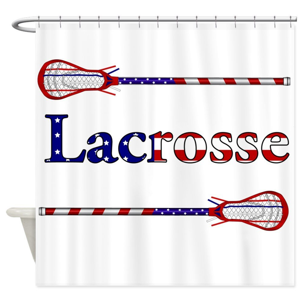 Lacrosse Stars And Stripes - Decorative Fabric Shower Curtain (69x70)