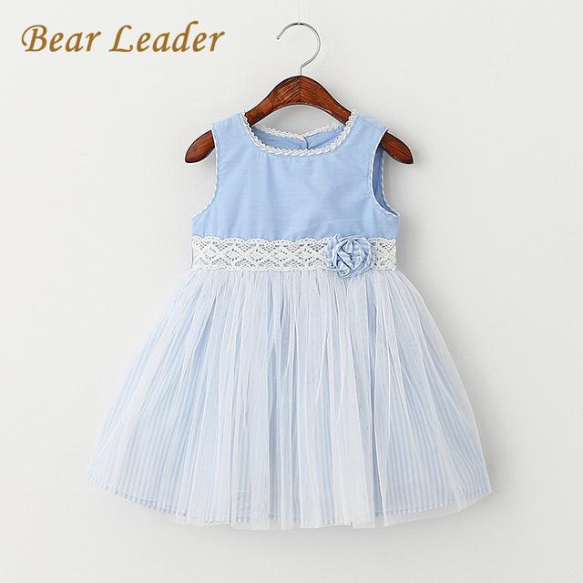 Bear leader niñas vestidos 2017 estilo sin mangas del verano ropa de los niños flores diseño vestidos de niña de vestido de princesa 3-8y
