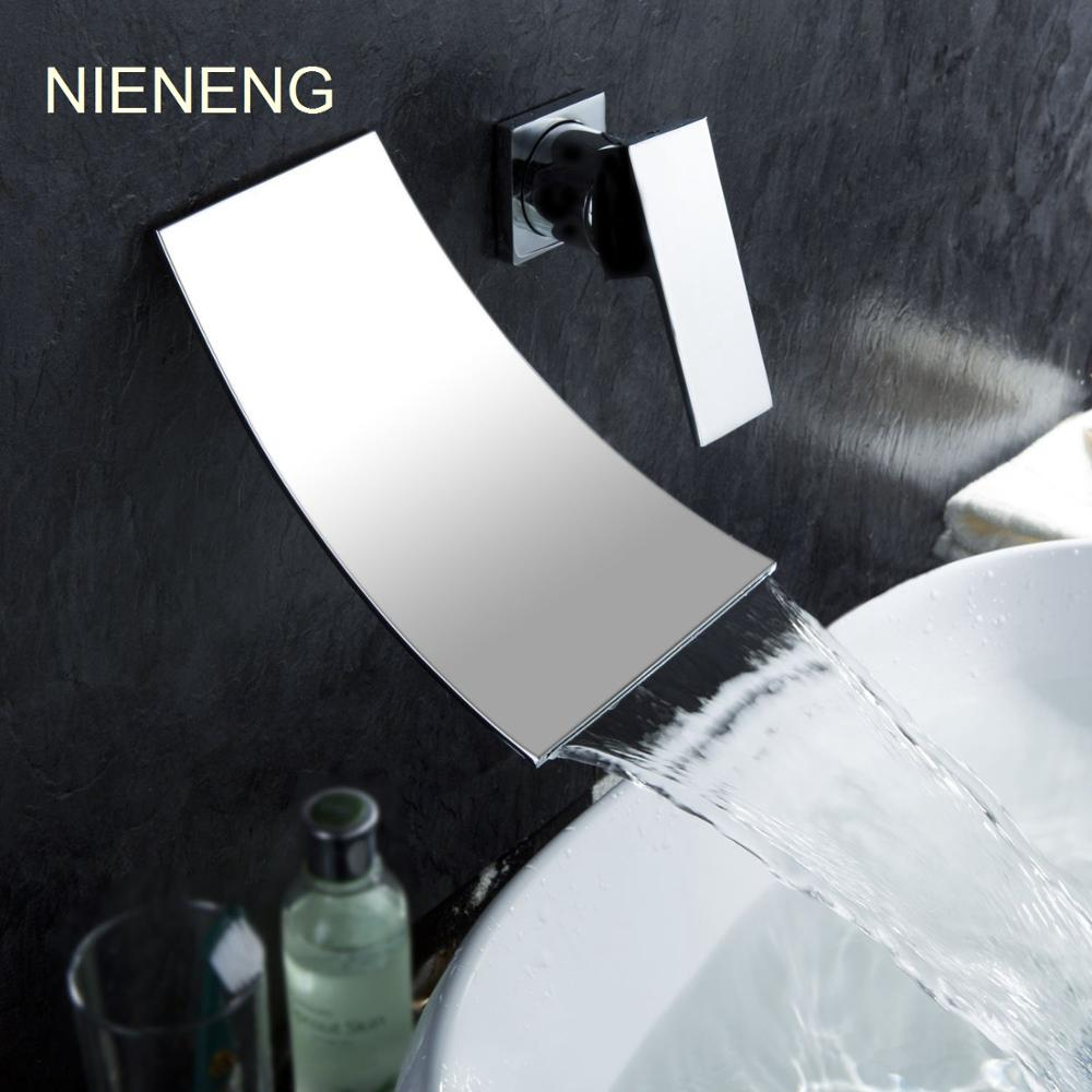 NIENENG waterfall faucet bathroom faucet single handle wanll mounted tap WC taps banheiro bath mixers sink faucet mixer ICD60172 nieneng big discount basin washroom mixer bathroom faucet tap mixers wc sanitary ware water toilet taps polished chrome icd60157
