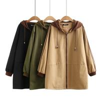 Spring trench coat for women Korean loose plus size medium long fashion baseball uniform hooded windbreaker coats female Tops