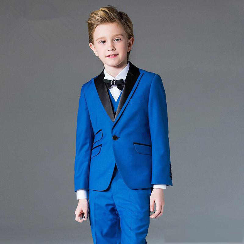 Костюмы для мальчиков на свадьбу, Торжественный синий деловой костюм для детей, Детский классический красивый блейзер (пиджак + брюки + жилет)
