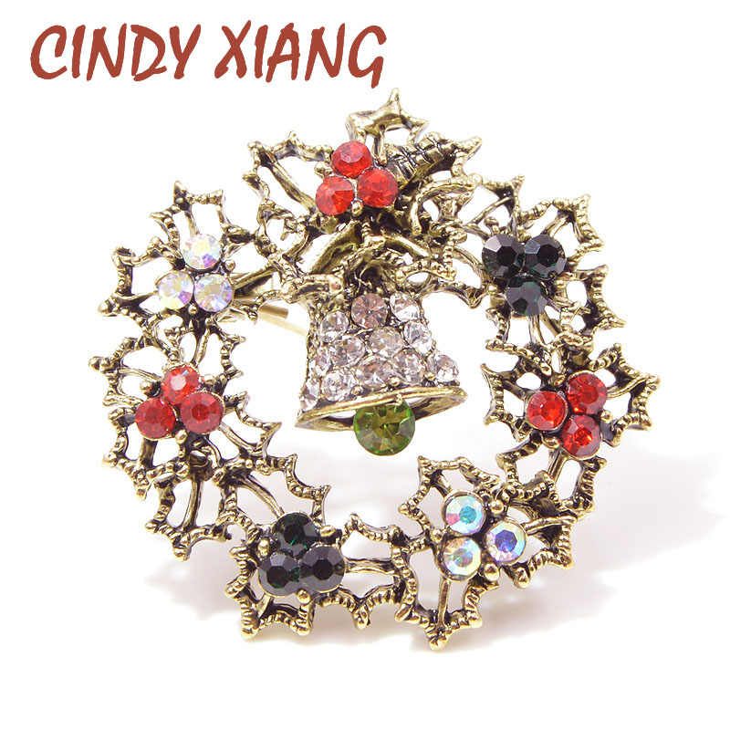 CINDY XIANG Rhinestone Flower Circle Bell Brooches for Women Vintage Christmas Brooch Pin Gift for Kids Winter Accessories New