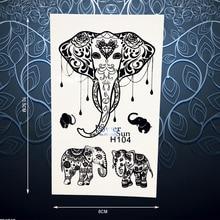 1PC Black Thailand Elephant Temporary Tattoo Sticker Waterproof Indian Henna Body Arm Art Decals For Women Tattoo Stickers PH104