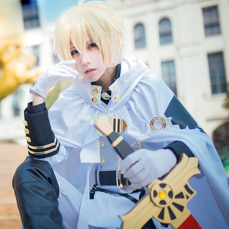 Anime Seraph of the End Mikaela Hyakuya Cosplay Costume with Cloak Jacket Shirt Pants for Adult Men Halloween Cos free Get Wig seraph of the end mikaela hyakuya cosplay costume full set costume hot sale h