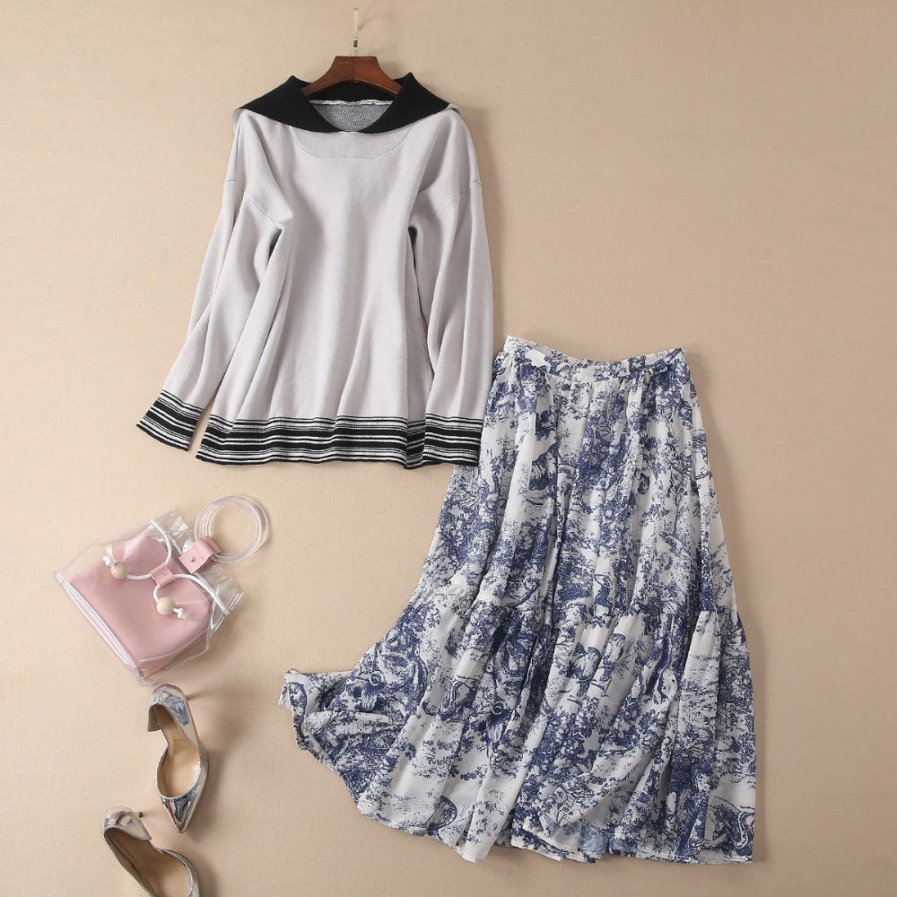 European and American women's fashion 2019 spring new style The letter printing Knit hooded sweaters Printed skirt suit
