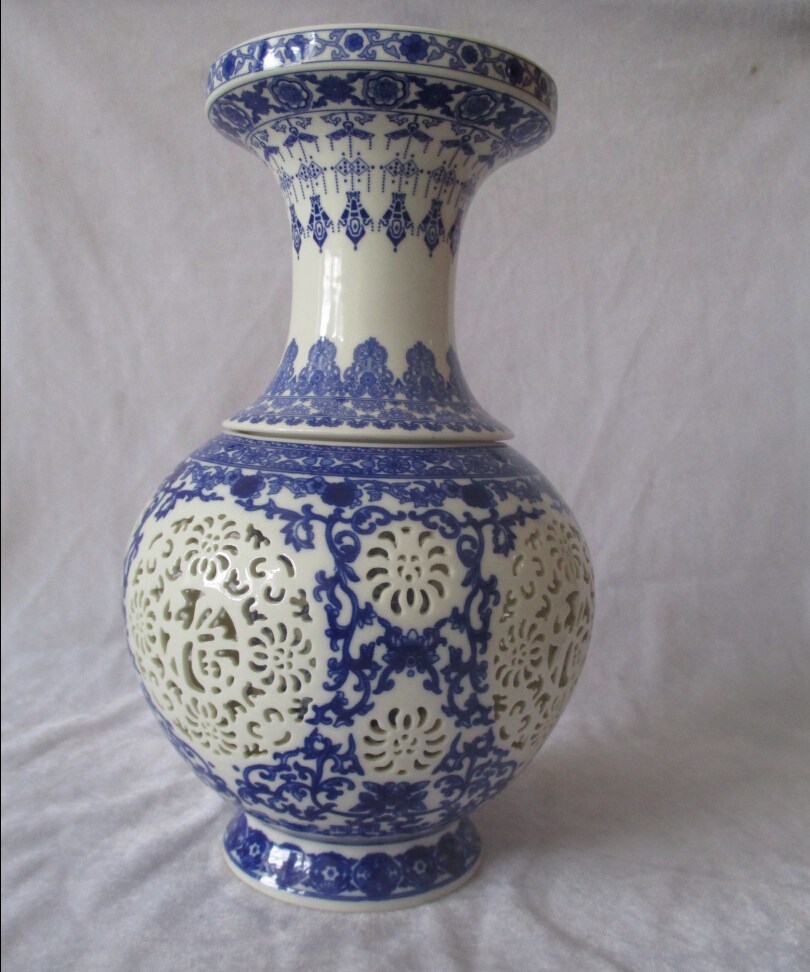 H11 inch home decoration chinese antique openwork porcelain vase h11 inch home decoration chinese antique openwork porcelain vaseclassic white and blue ceramic vases double layer vase 03 in vases from home garden on reviewsmspy